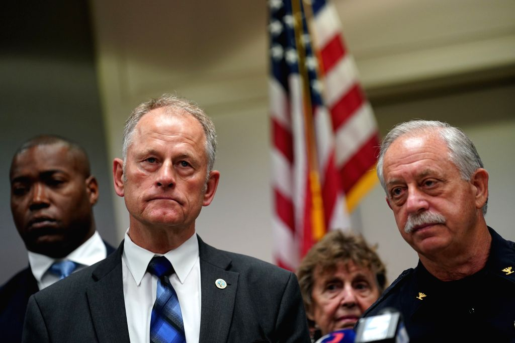 VIRGINIA BEACH (U.S.), June 1, 2019 Virginia Beach City Manager Dave Hansen (2nd L) and Virginia Beach Police Chief Jim Cervera (1st R) attends a press conference in Virginia Beach, ...