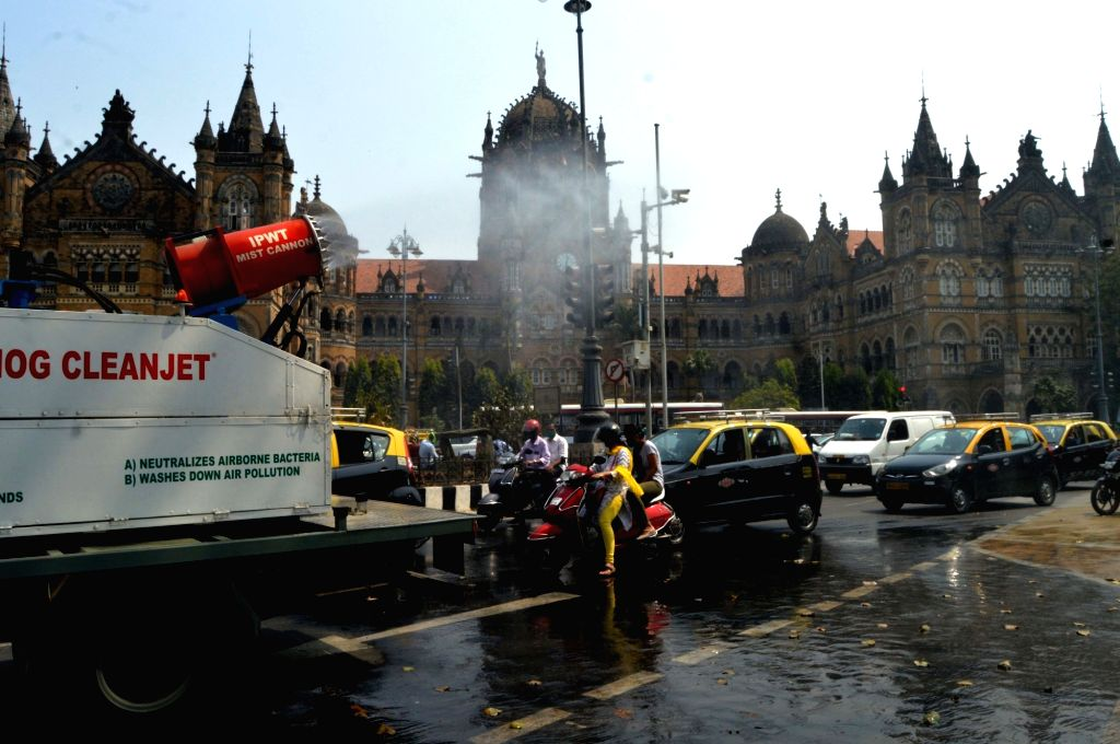 Virusmog cleanjet a sanitising cannon mounted on a dedicated truck made by IPWT company spraying water mixed with Sodium Hypochlorite in front of BMC Headquarters and CSMT Junction for Demo ...