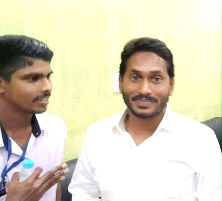 :Visakhapatam: Jaripalli Srinivas (L) who attacked YSR Congress Party President Y.S. Jaganmohan Reddy with a knife, according to the police, sneaked up to him with a request to take a selfie, on ...