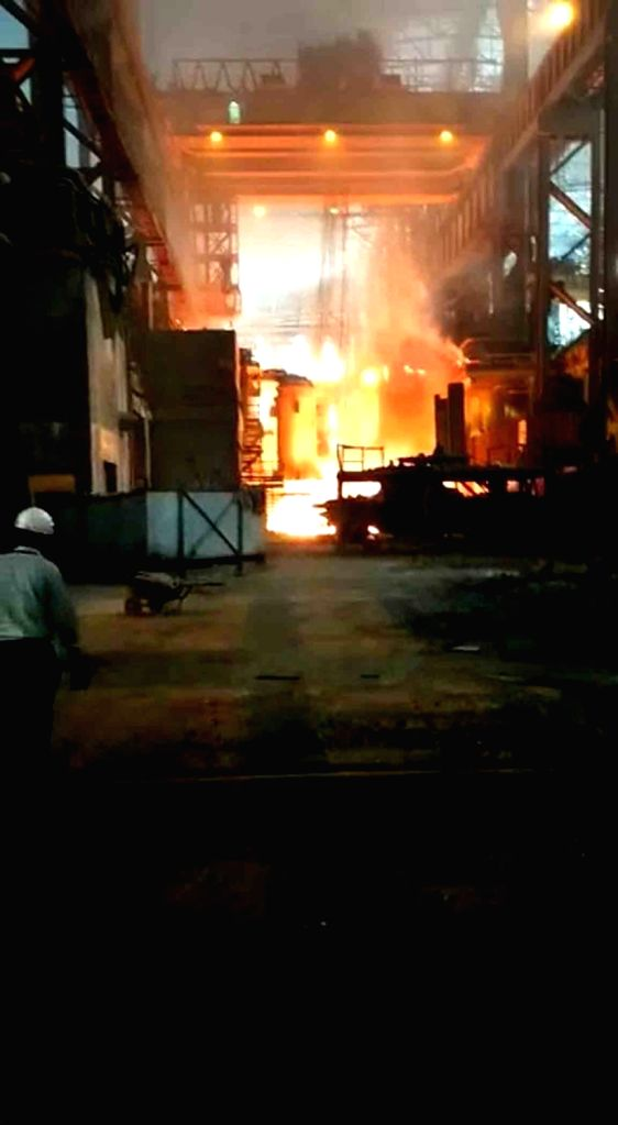 Visakhapatnam: A minor fire broke out in the thermal power plant-2 of the Visakhapatnam Steel Plant (VSP) in the early hours of Nov 5, 2020. (Photo: IANS)