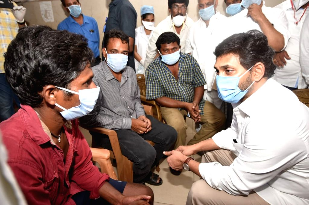 Visakhapatnam: Andhra Prdesh Chief Minister YS Jagan Mohan Reddy meets the victims of the gas leakage at the LG Polymers unit located at RR Venkatapuram near Gopalapatnam in Visakhapatnam, Andhra Pradesh that left one minor among 7 people dead, more  - Jagan Mohan Reddy