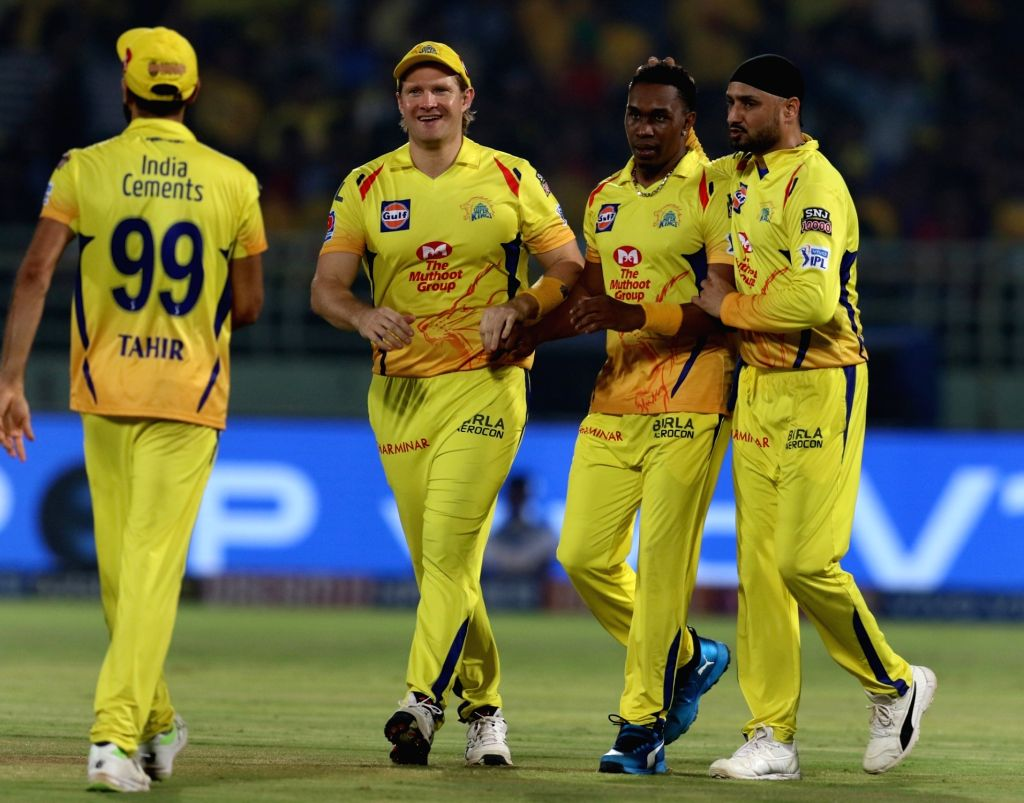 Visakhapatnam: Chennai Super Kings' Dwayne Bravo celebrates fall of Axar Patel's wicket during the 2nd Qualifier match of IPL 2019 between Chennai Super Kings and Delhi Capitals at Dr. Y.S. Rajasekhara Reddy Cricket Stadium in Visakhapatnam, on May 1 - Axar Patel and Surjeet Yadav