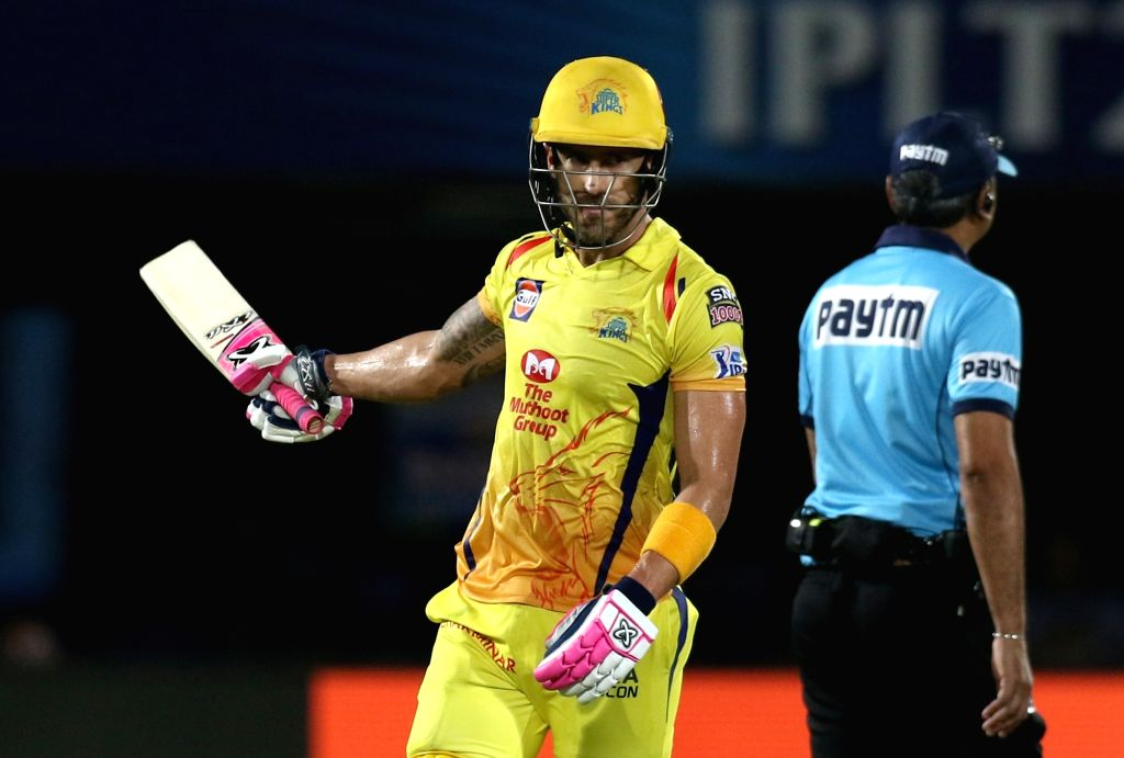 Visakhapatnam: Chennai Super Kings' Faf du Plessis celebrates his half century during the 2nd Qualifier match of IPL 2019 between Chennai Super Kings and Delhi Capitals at Dr. Y.S. Rajasekhara Reddy Cricket Stadium in Visakhapatnam, on May 10, 2019.  - Surjeet Yadav