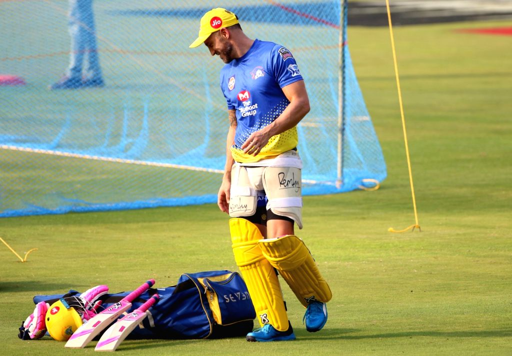 Visakhapatnam: Chennai Super Kings' Faf du Plessis during a practice session in Visakhapatnam, on May 9, 2019. (Photo: Surjeet Yadav/IANS) - Surjeet Yadav