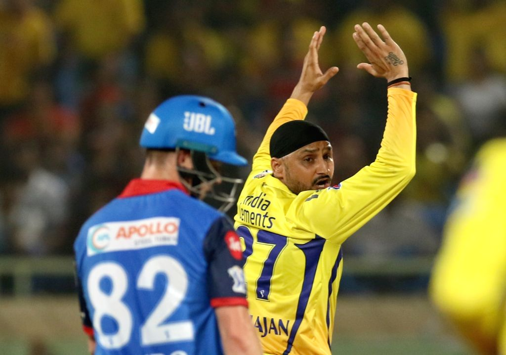 Visakhapatnam: Chennai Super Kings' Harbhajan Singh during the 2nd Qualifier match of IPL 2019 between Chennai Super Kings and Delhi Capitals at Dr. Y.S. Rajasekhara Reddy Cricket Stadium in Visakhapatnam, on May 10, 2019. (Photo: Surjeet Yadav/IANS) - Harbhajan Singh and Surjeet Yadav