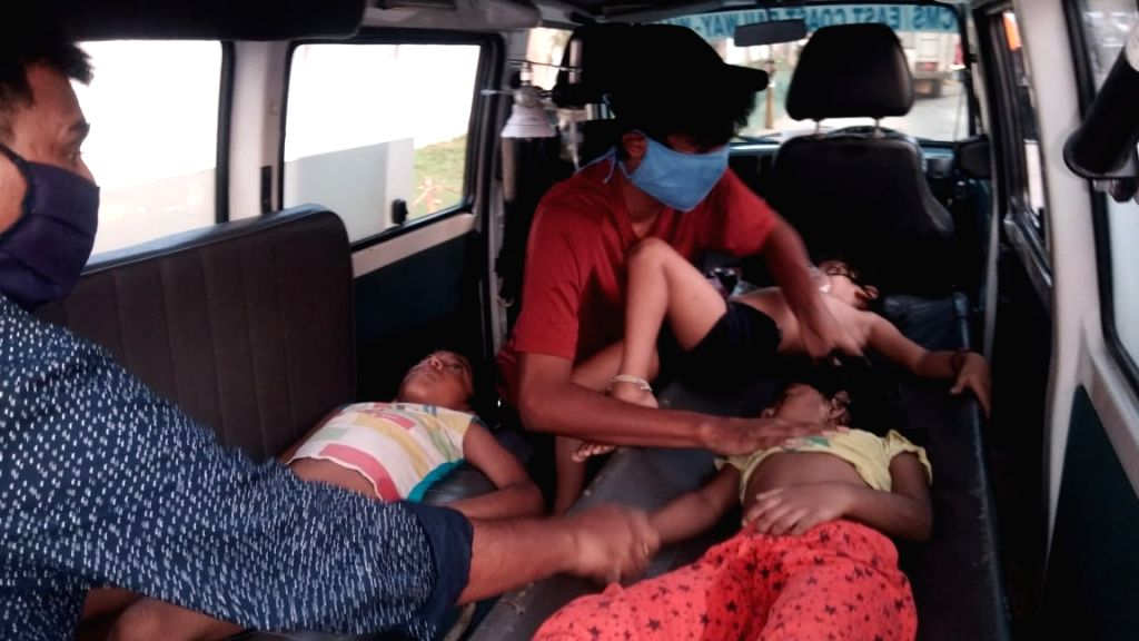 Visakhapatnam: Children affected by the gas leakage at the LG Polymers unit located at RR Venkatapuram near Gopalapatnam in Visakhapatnam, Andhra Pradesh that left one minor among 7 people dead, more than 70 left unconscious, with at least five sleep