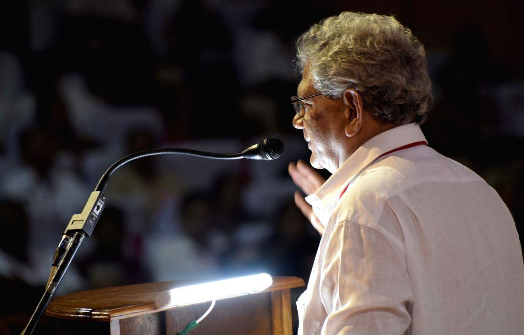 CPI-M General Secretary Sitaram Yechury addresses a party rally in Visakhapatnam.