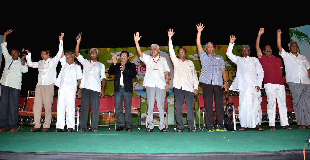 CPI-M leaders including party's general secretary Prakash Karat during the national conference of CPI-M in Visakhapatnam, Andhra Pradesh on April 14, 2015.