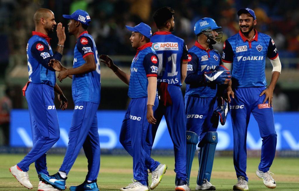 Visakhapatnam: Delhi Capitals' Amit Mishra celebrates fall of Martin Guptill's wicket during the Eliminator match of IPL 2019 between Sunrisers Hyderabad and Delhi Capitals at Dr. Y.S. Rajasekhara Reddy Cricket Stadium in Visakhapatnam, on May 8, 201 - Amit Mishra and Surjeet Yadav