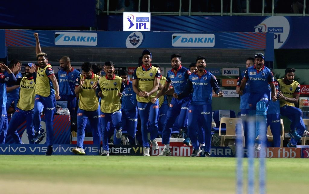 Visakhapatnam: Delhi Capitals' players celebrate after winning the Eliminator match of IPL 2019 against Sunrisers Hyderabad at Dr. Y.S. Rajasekhara Reddy Cricket Stadium in Visakhapatnam, on May 8, 2019. Delhi Capitals won by 2 wickets. (Photo: Surje - Surjeet Yadav