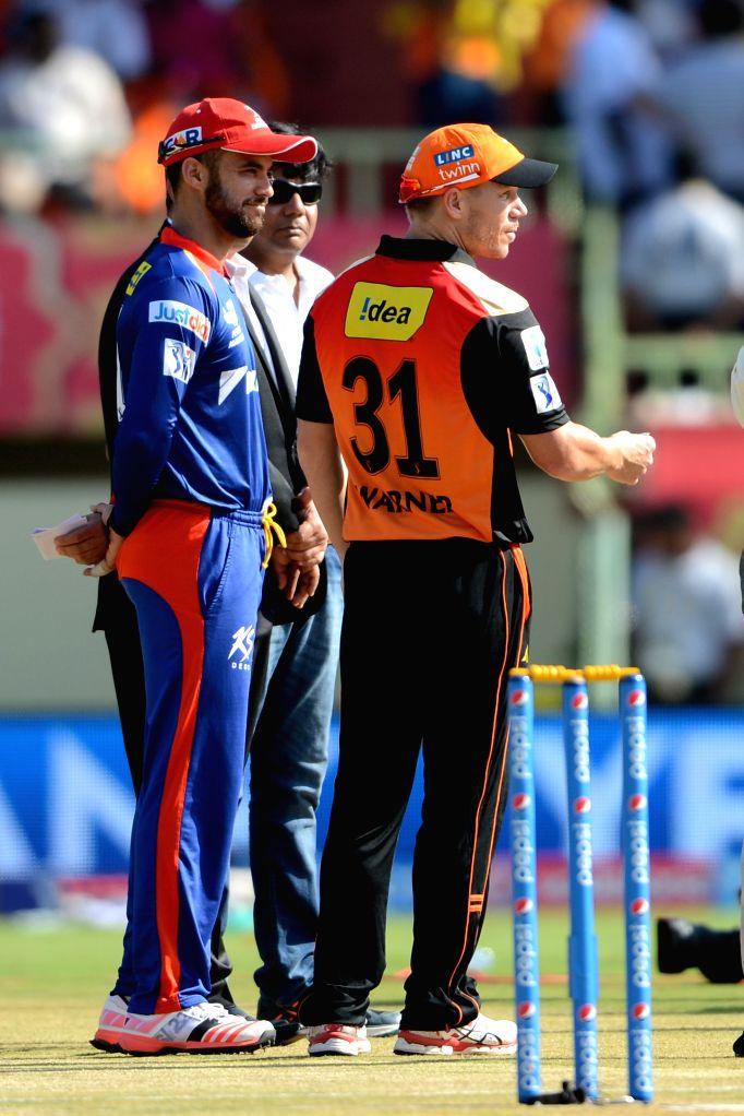 Delhi Daredevils captain Jean-Paul Duminy with Sunrisers Hyderabad captain David Warner during an IPL-2015 match between Sunrisers Hyderabad and Delhi Daredevils at  Dr. Y.S. ... - Jean-Paul Duminy