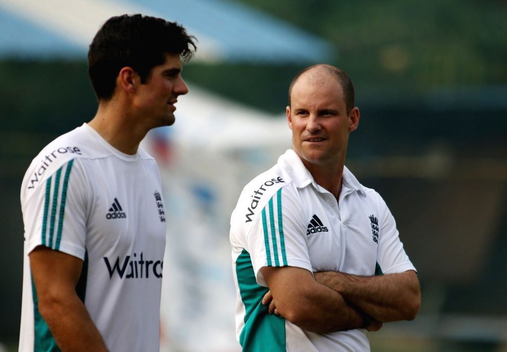 Visakhapatnam: England's cricket captain Alastair Cook and former England cricketer Andrew Strauss during a practice session in Visakhapatnam on Nov 16, 2016. (Photo: Surjeet Yadav/IANS) - Alastair Cook and Surjeet Yadav