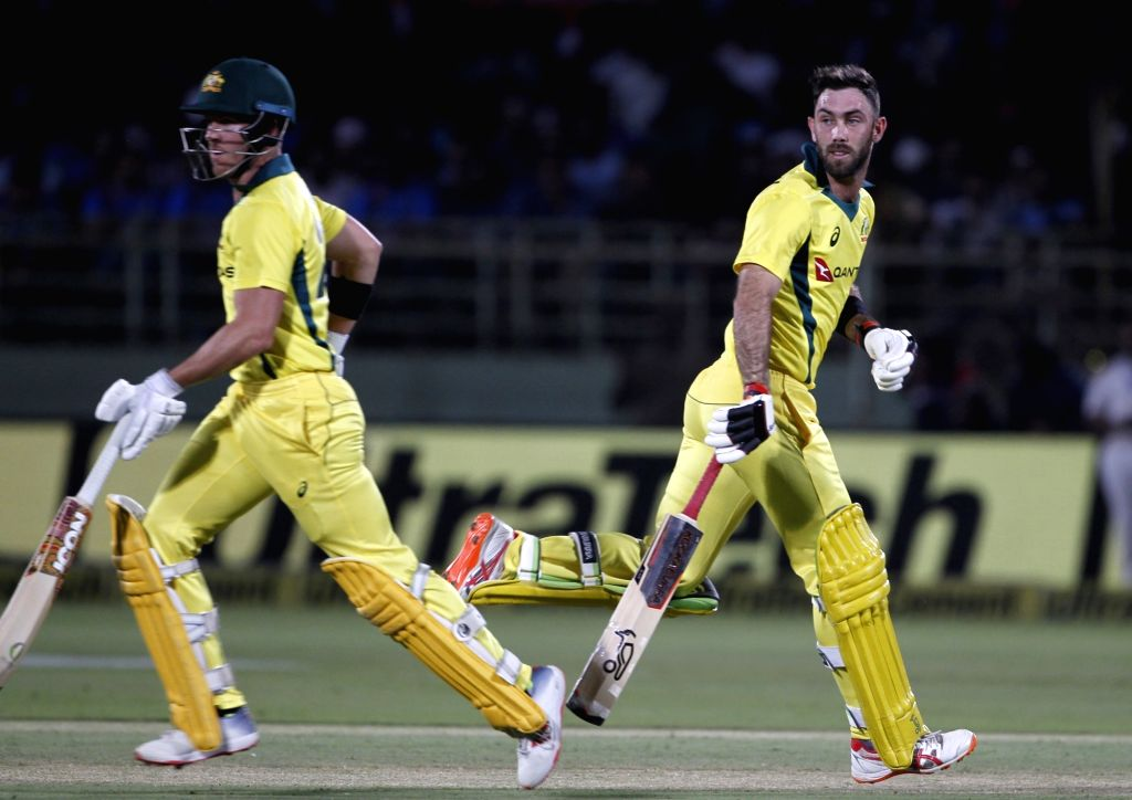 Visakhapatnam: Glenn Maxwell and D'Arcy Short of Australia in action during the 1st T20I match between India and Australia at Dr. Y.S. Rajasekhara Reddy ACA-VDCA Cricket Stadium in Visakhapatnam, Andhra Pradesh on Feb 24, 2019. (Photo: Surjeet Yadav/ - Surjeet Yadav