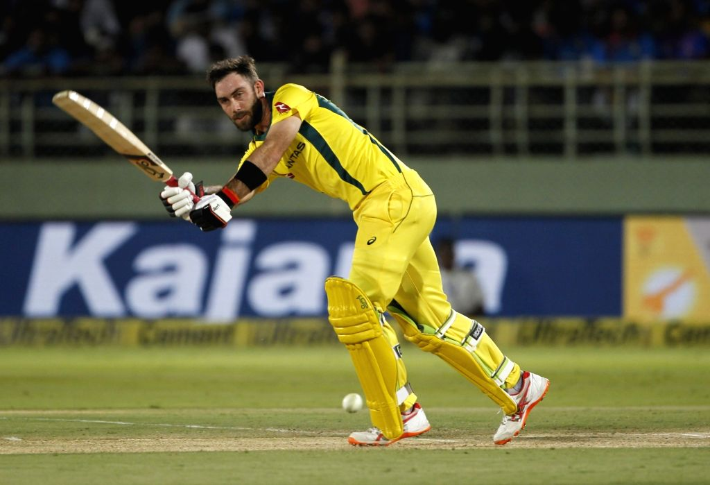 Visakhapatnam: Glenn Maxwell of Australia in action during the 1st T20I match between India and Australia at Dr. Y.S. Rajasekhara Reddy ACA-VDCA Cricket Stadium in Visakhapatnam, Andhra Pradesh on Feb 24, 2019. (Photo: Surjeet Yadav/IANS) - Surjeet Yadav