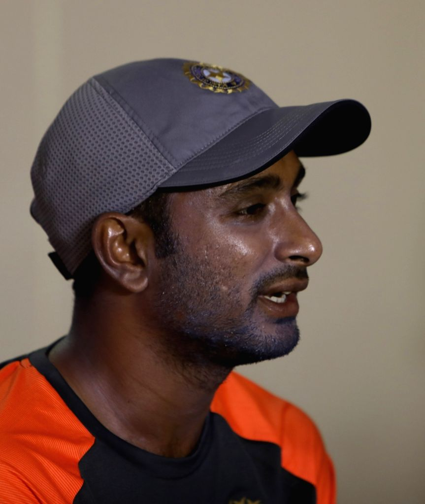 : Visakhapatnam: India's Ambati Rayudu at a press conference during a practice session ahead of the second ODI match against West Indies in Visakhapatnam, on Oct 23, 2018. (Photo: Surjeet ...