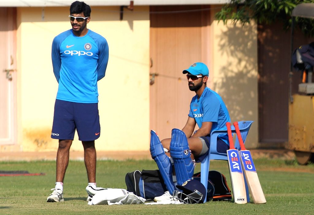 Visakhapatnam: India's Jasprit Bumrah and Ajinkya Rahane during a practice session ahead of the 3rd One Day International match at Visakhapatnam ACA-VDCA Cricket Stadium on Dec 16, 2017. (Photo: Surjeet Yadav/IANS) - Surjeet Yadav