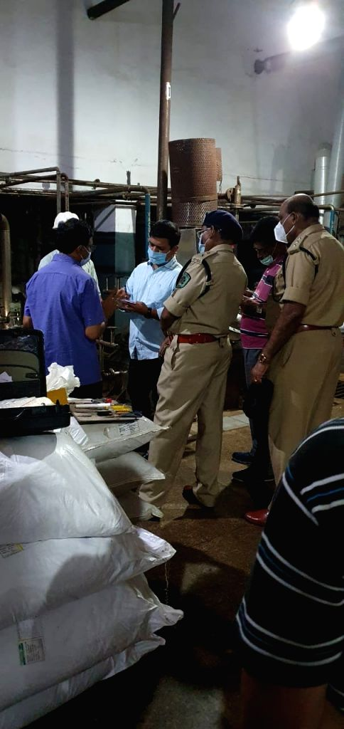 Visakhapatnam: Police personnel interrogate during an investigation launched after two persons died and four others took ill in a gas leak at a pharmaceutical unit in Visakhapatnam on Monday night, the second industrial disaster to strike the port ci