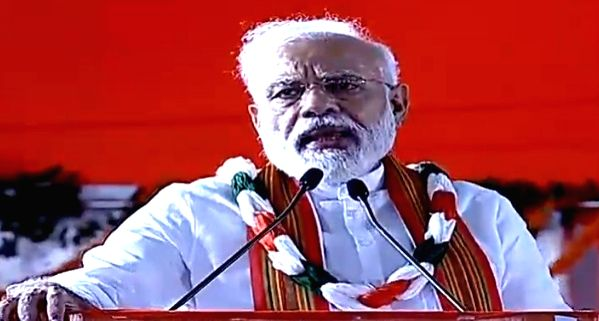 Visakhapatnam: Prime Minister Narendra Modi addresses a rally in Visakhapatnam, Andhra Pradesh on March 1, 2019. (Photo: IANS/BJP) - Narendra Modi