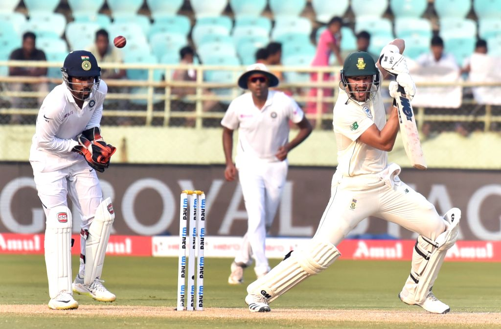 Visakhapatnam: South Africa's Aiden Markram in action on Day 2 of the 1st Test match between India and South Africa at Dr. Y.S. Rajasekhara Reddy ACA-VDCA Cricket Stadium in Visakhapatnam on Oct 3, 2019. (Photo: IANS)