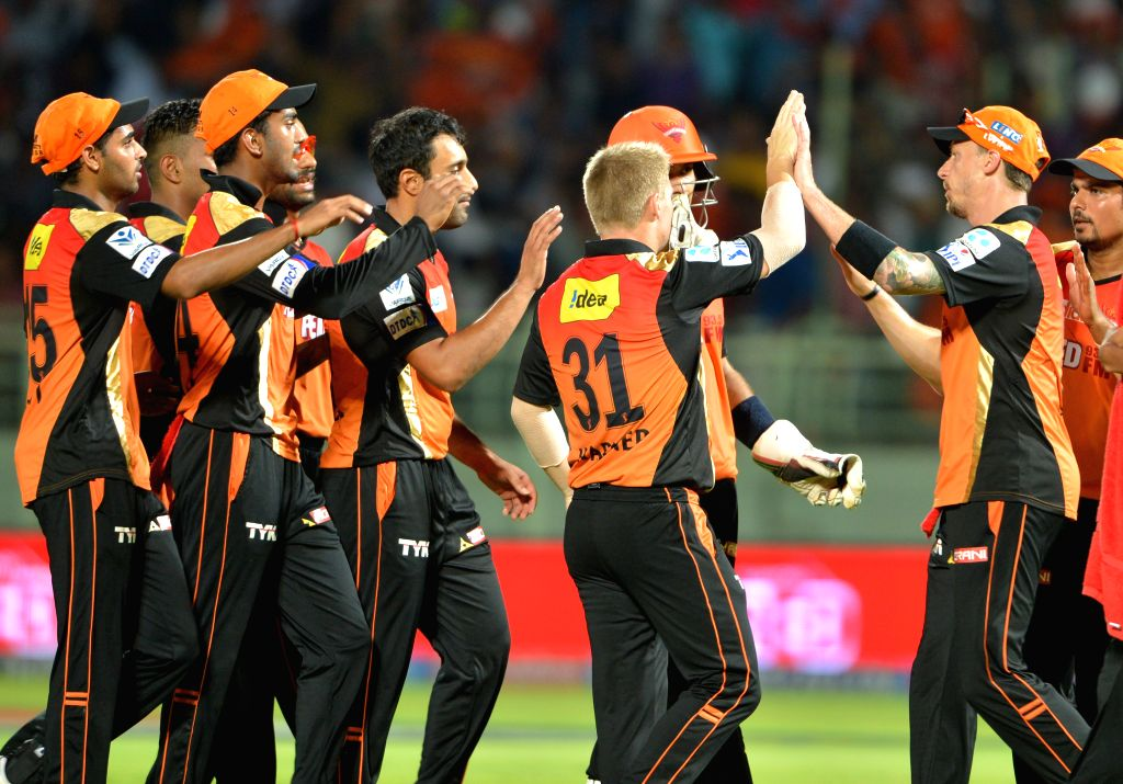Sunrisers Hyderabad celebrate fall of a wicket during an IPL-2015 match between Sunrisers Hyderabad and Kolkata Knight Riders at Dr. Y.S. Rajasekhara Reddy ACA-VDCA Cricket Stadium, in ...