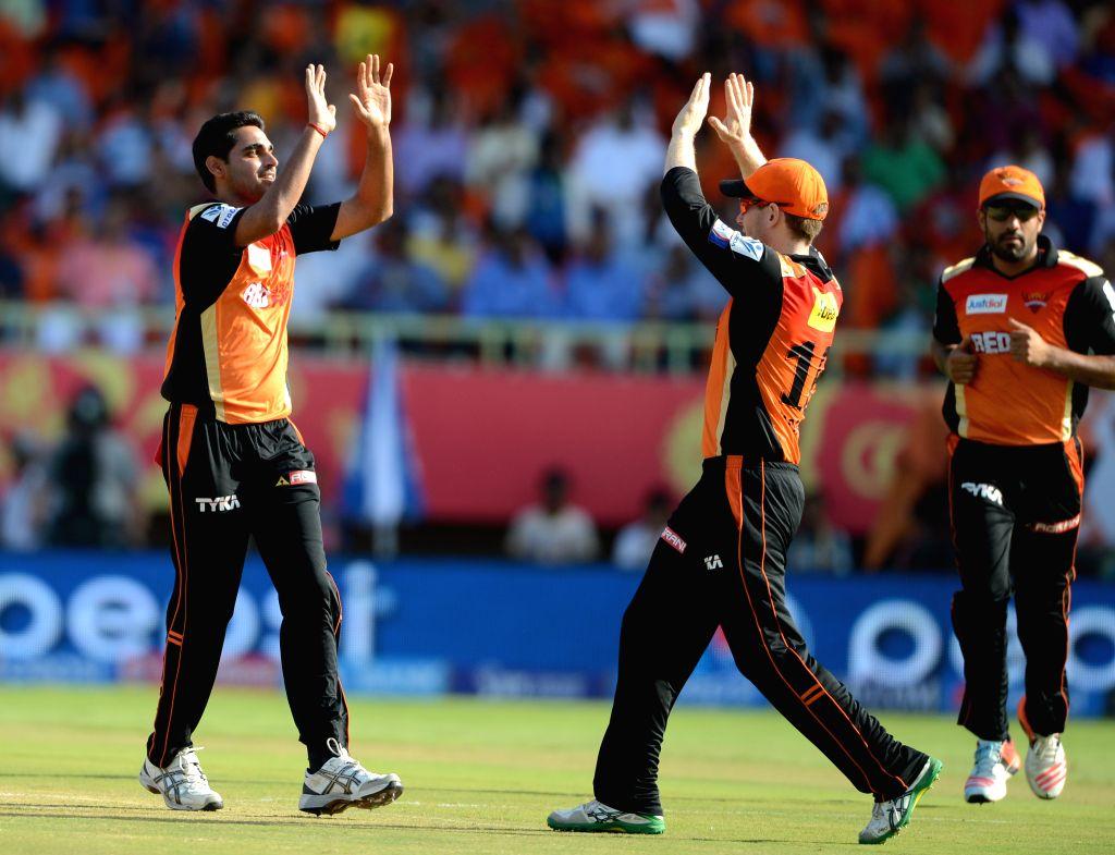 Sunrisers Hyderabad player Bhuvneshwar Kumar celebrate fall of a wicket during an IPL-2015 match between Sunrisers Hyderabad and Delhi Daredevils at  Dr. Y.S. Rajasekhara Reddy ... - Bhuvneshwar Kumar