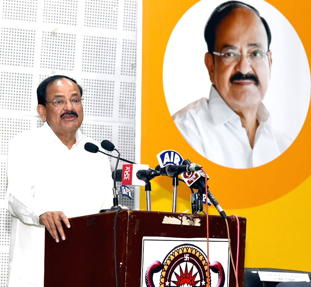 Visakhapatnam: Vice President M. Venkaiah Naidu addresses at an event to inaugurate the two-day conference on 'Industry Academy Interaction for Improvement of Quality of Academics' in Visakhapatnam, Andhra Pradesh, on June 2, 20 - M. Venkaiah Naidu