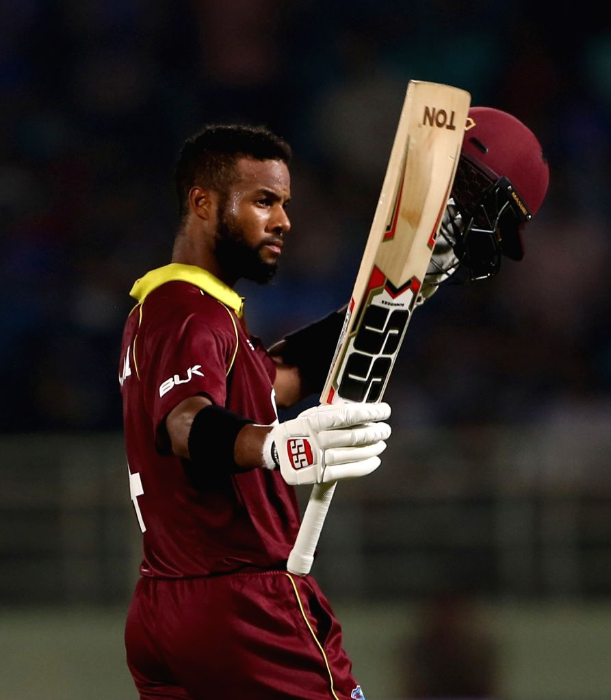 : Visakhapatnam: West Indies' Shai Hope celebrates his century during the second ODI (One Day International) match between India and West Indies at Dr. Y.S. Rajasekhara Reddy ACA-VDCA Cricket ...