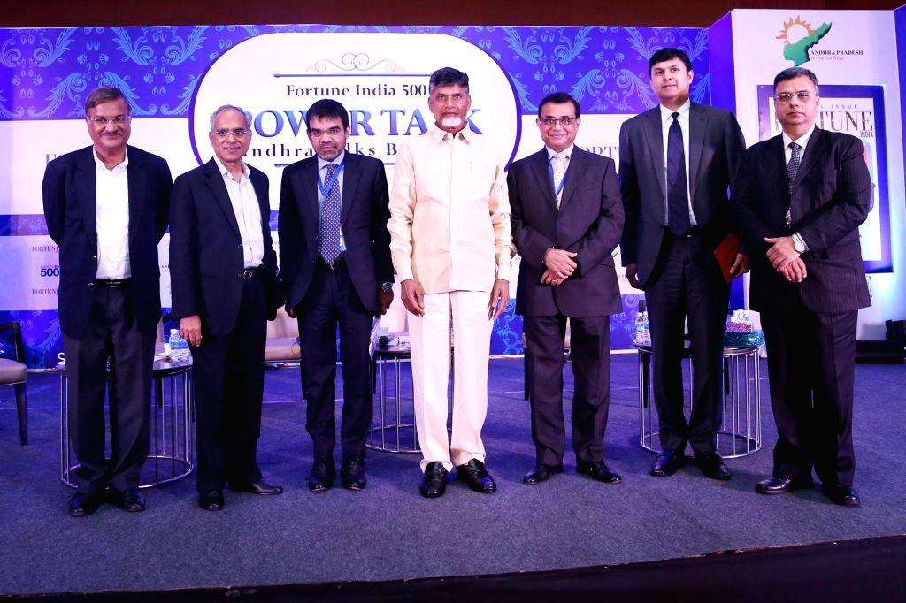 Andhra Pradesh Chief Minister N. Chandrababu Naidu at the launch of Fortune India 500 -  a ranking of the top 500 corporations in India, in Vishakahapattanam on Dec 17, 2014. - N. Chandrababu Naidu