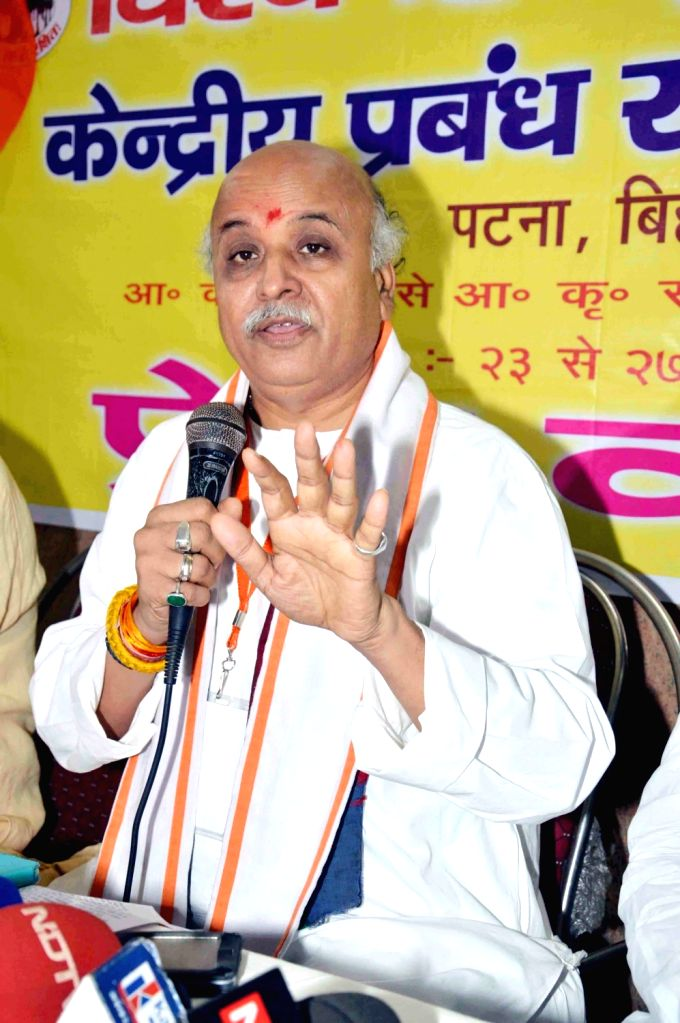 Vishva Hindu Parishad (VHP) chief Pravin Togadia a press conference in Patna on June 25, 2016.
