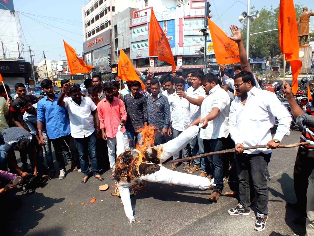 Vishwa Hindu Parishad (VHP) activists stage a demonstration against Valentine's Day in Hyderabad on Feb 14, 2018.