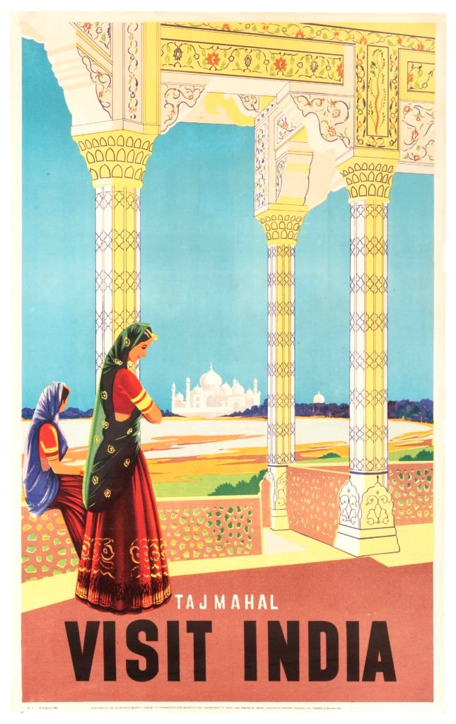 Visit India, Taj Mahal, issued by the Ministry of Information and Broadcasting of the Government of India, 1950s.