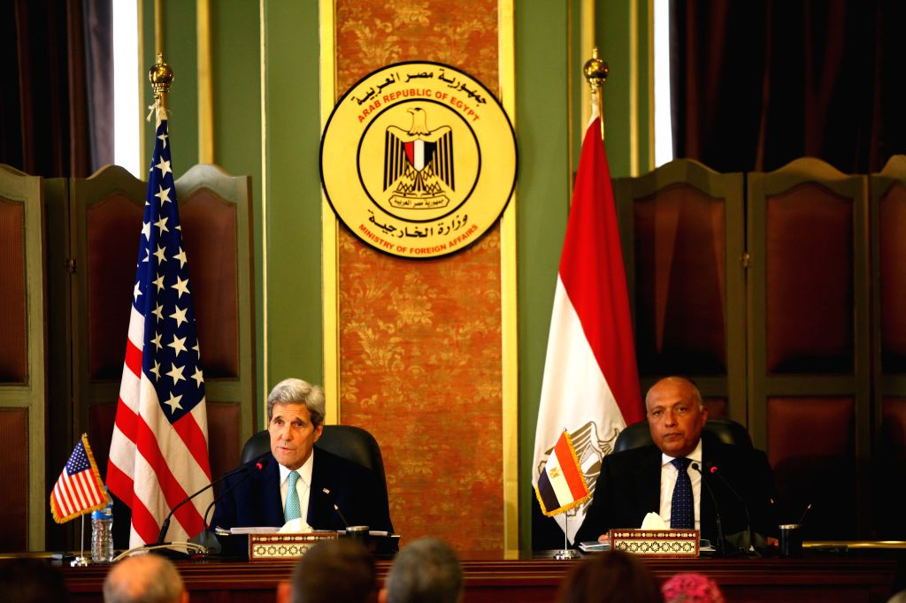Visiting U.S. Secretary of State John Kerry (L) speaks during a press conference with his Egyptian counterpart Sameh Shukry in Cairo, Egypt, on August 2, 2015. U.S. ...