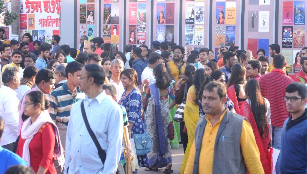 Visitors at 43rd Kolkata International Book Fair in Kolkata on Feb 10, 2019.