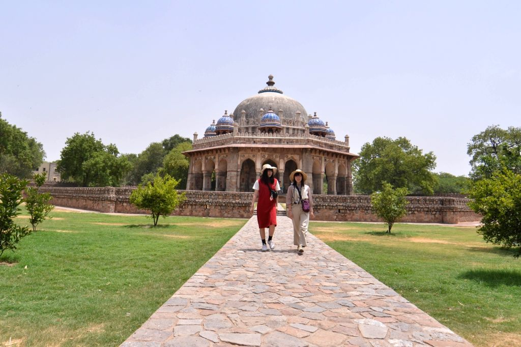 Visitors at Humayun's Tomb in New Delhi on June 15, 2019.