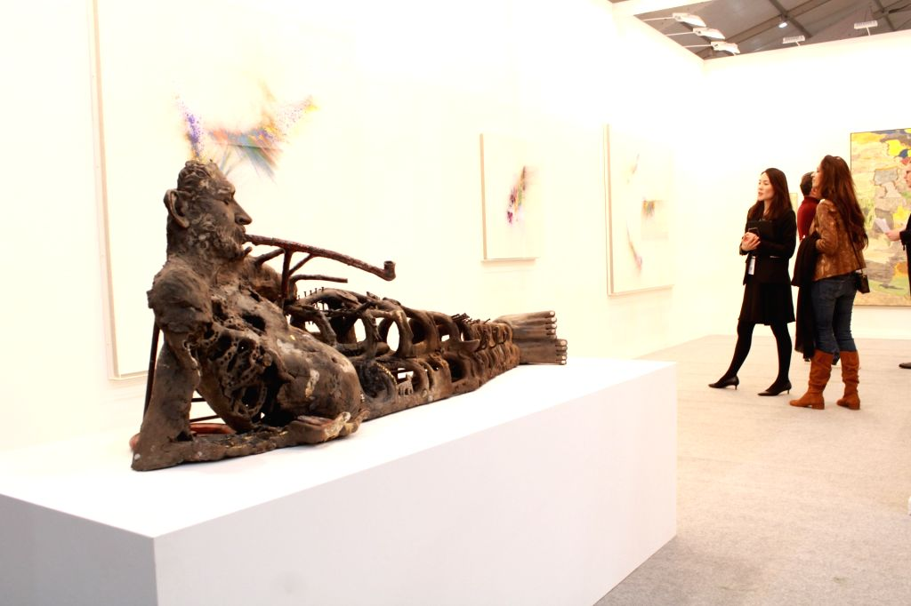 Visitors at India Art Fair 2019 in New Delhi on Jan 31, 2019.