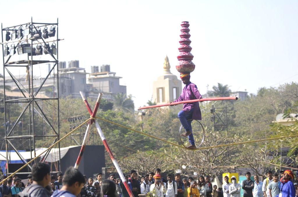 Visitors at Kala Ghoda Arts Festival (KGAF) in Mumbai on Feb 6, 2019.