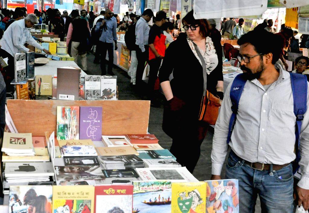 Visitors at the 44th International Kolkata Book Fair, on Feb 6, 2020.