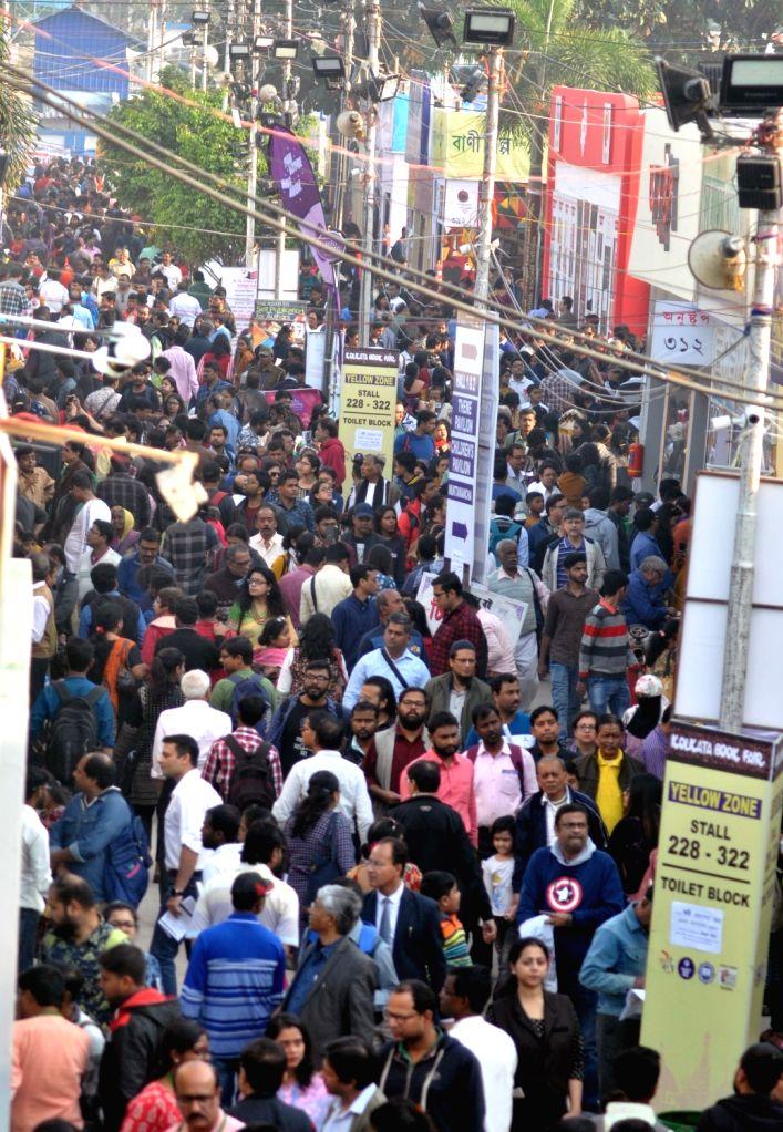 Visitors at the 44th International Kolkata Book Fair, on Feb 9, 2020.