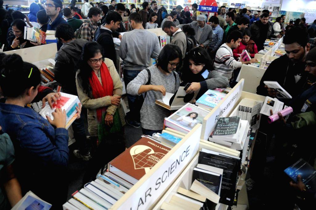 Visitors at the World Book Fair organised at Pragati Maidan in New Delhi, on Jan 17, 2016.