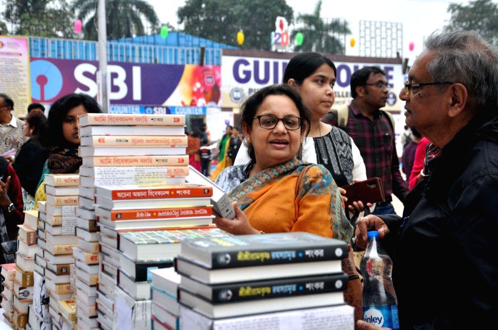 Visitors during 44th International Kolkata Book Fair in Kolkata on Feb 07, 2020.