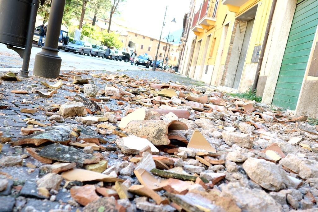 VISSO, Oct. 27, 2016 - Photo taken on Oct. 27, 2016 shows shattered rubble on the ground in Visso, central Italy.  Two powerful earthquakes hit central Italy late Wednesday, bringing down buildings ...