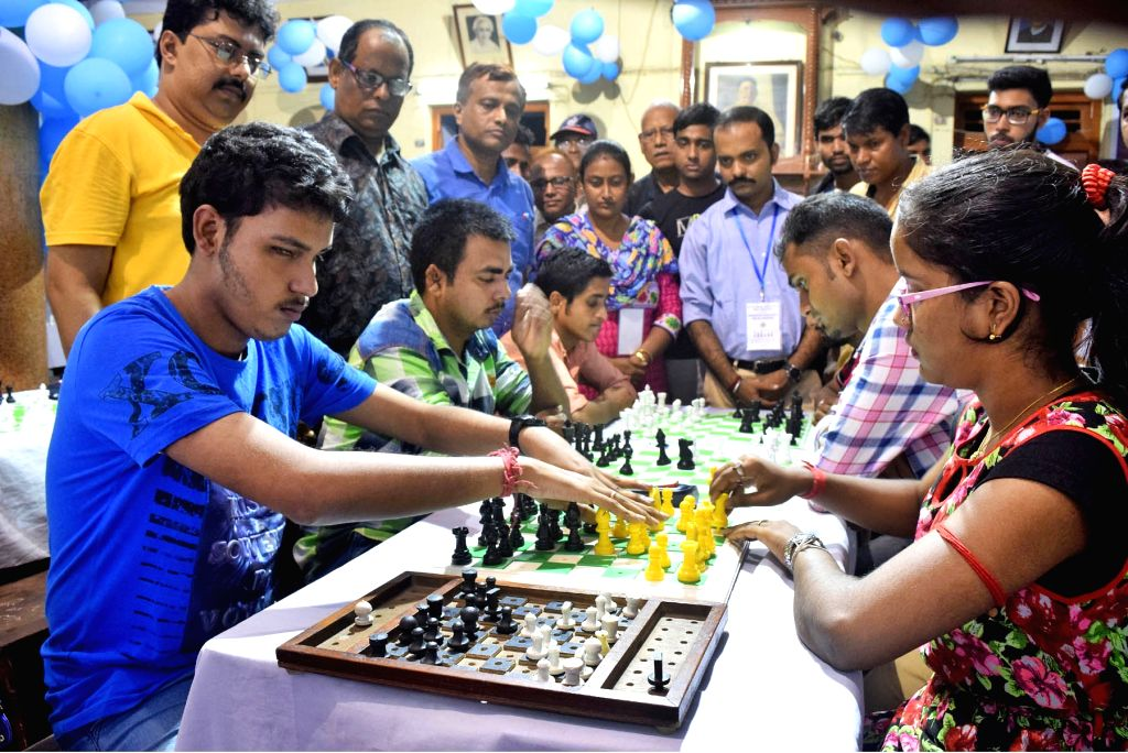 Visually challenged persons participate in the 7th All Bengal Handicapped Chess Tournament in Kolkata on Sept 9, 2018.