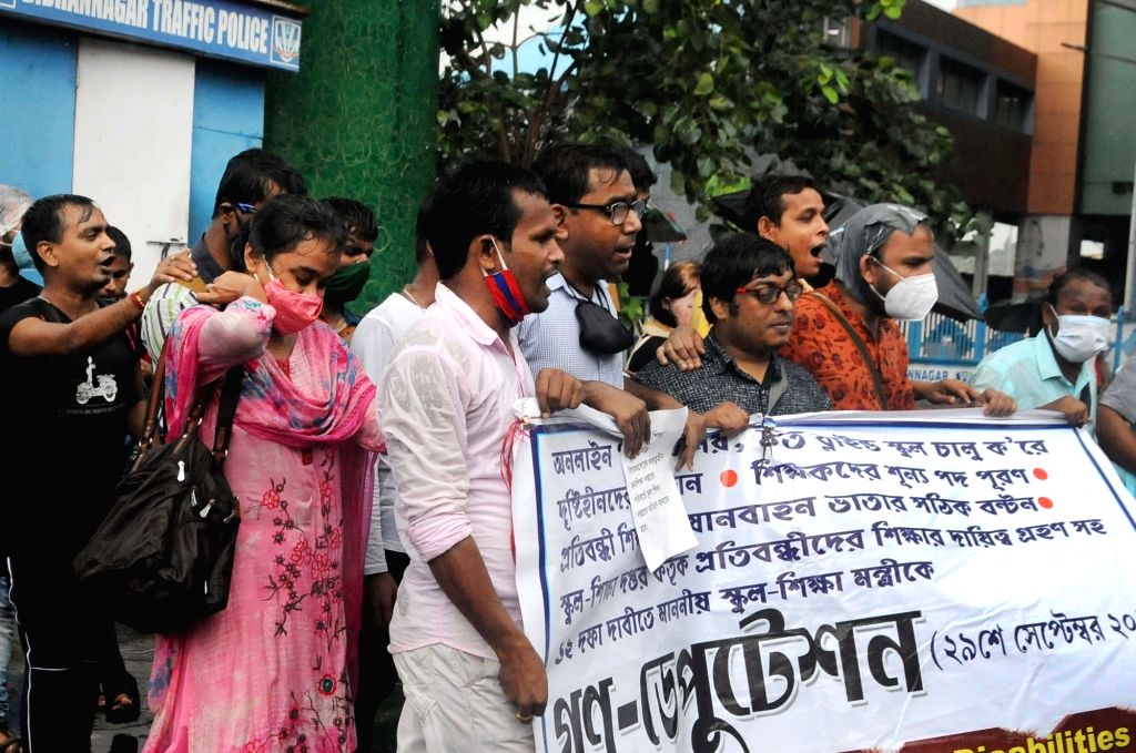 Visually impaired students, teachers and others took part in a protest to demand for the immediate opening of Blind Schools, Instead of Online Education at Salt Lake in Kolkata on Tuesday ...
