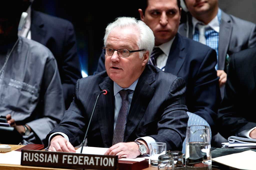 Vitaly Churkin, Russian permanent representative to the United Nations, speaks during a Security Council emergency meeting on escalation of tensions in Israel and ...