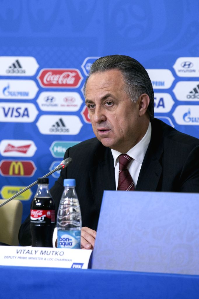 Vitaly Mutko, Russian Federation Deputy Prime Minister and Local Organising Committee (LOC) Chairman speaks during a press conference before the FIFA ...