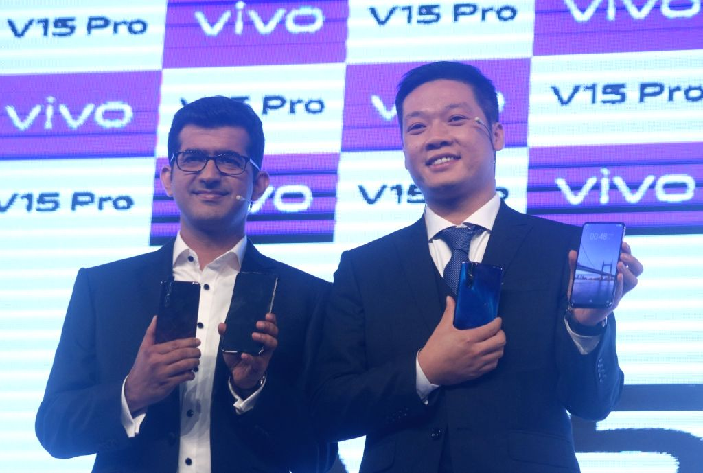 Vivo India CEO Kent Cheng and Director - Brand Strategy Nipun Marya at the launch of  Vivo V15 Pro in New Delhi on Feb 20, 2019.