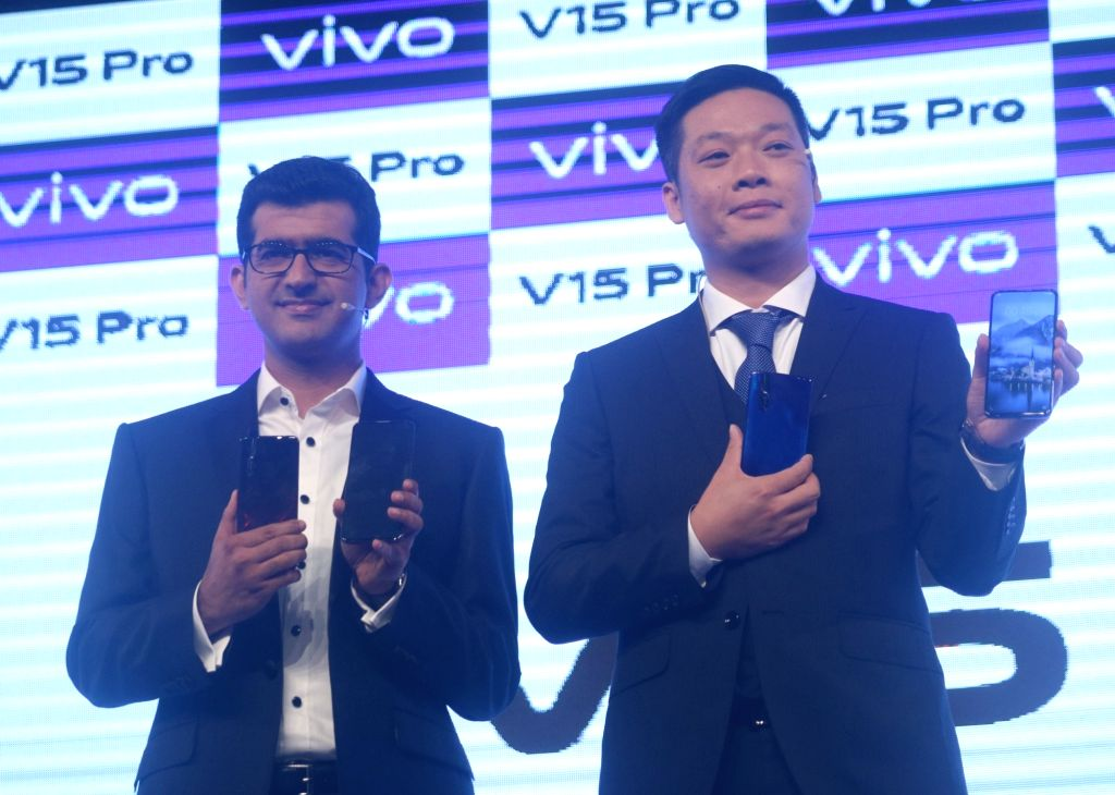 Vivo India CEO Kent Cheng and Director - Brand Strategy Nipun Marya at the launch of  Vivo V15 Pro in New Delhi on Feb 20, 2019. (Photo: IANS)