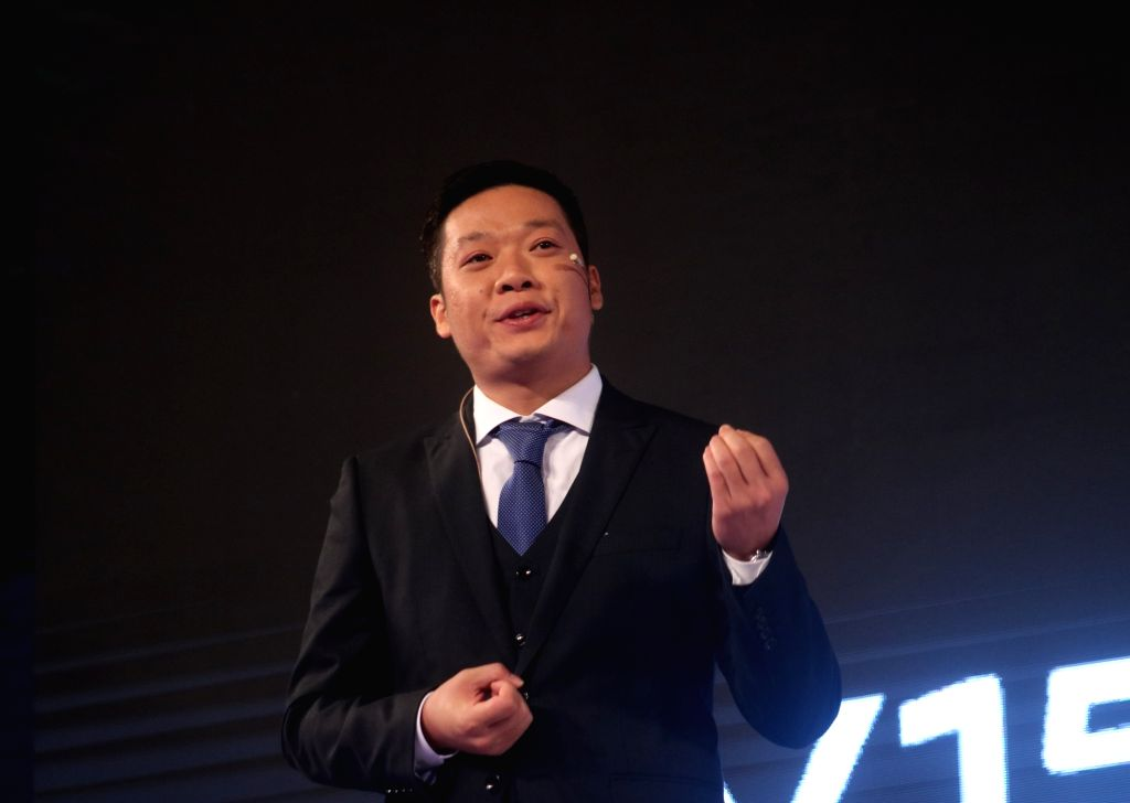 Vivo India CEO Kent Cheng at the launch of  Vivo V15 Pro in New Delhi on Feb 20, 2019.