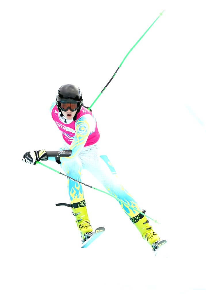 Vladislav Shlemov of Kazakhstan competes during the Men's Super-G of Alpine Skiing at the 3rd Winter Youth Olympic Games (YOG) at Les Diablerets Alpine ...