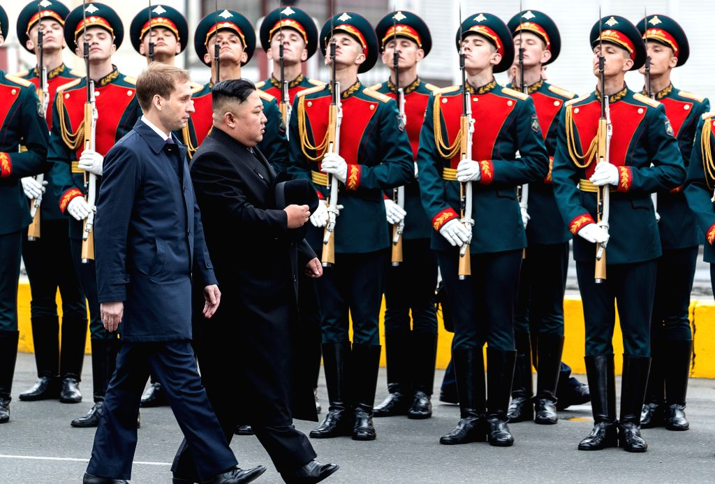 VLADIVOSTOK, April 24, 2019 - Top leader of the Democratic People's Republic of Korea (DPRK) Kim Jong Un attends the welcome ceremony in Vladivostok, Russia, April 24, 2019. Kim Jong Un arrived here ...